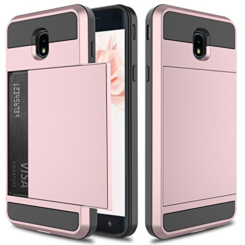 Galaxy J7 2018 Case, J7 Star Case, J7 Crown Case, Elegant Choise Hybrid Dual Layer Shockproof Wallet Case with Credit Card Slots Holder Protective Case for Samsung Galaxy J7 Aero / J7 Refine(Pink)