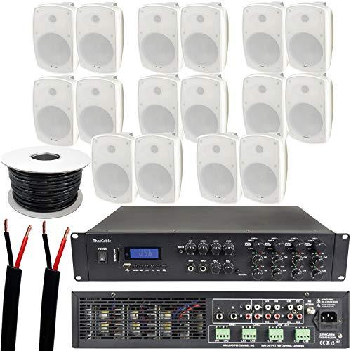 1600W LOUD Outdoor Bluetooth Sound System | 16x 140W White Speaker | 8 Channel / Zone Matrix HiFi Mixer Amplifier Amp…