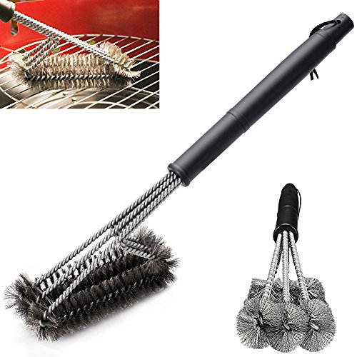 Grill Parts Galvanized Steel Wire (3 In 1 BBQ Grill Brush 18'' Stainless Steel Bristle Brushes Extra Wide Spiral Bristle Cleaner Tool for Outdoor Indoor Porcelain Ceramic Iron Barbecue Grates)