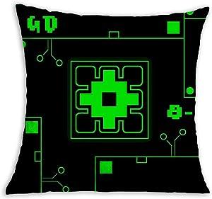 Geo-me-Try Green Dash Soft Square Pillow Throw Case 18 X 18 inch Covers Set Cushion Pillowcase Sofa