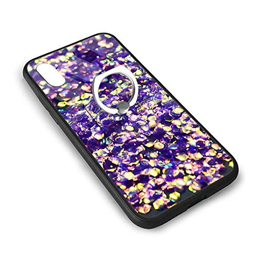 Fish Glitter Mermaid Sequins Stickers Manicure Nail Art iPhone X/iPhone Xs Tempered Glass Case Soft Silicone TPU Frame Back Cover with Square Ring Stand Grip -