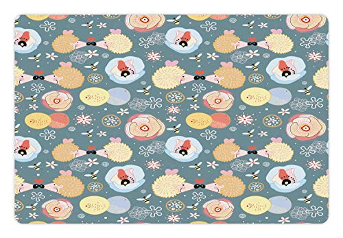 Lunarable Animal Pet Mat for Food and Water, Hedgehogs Kissing Hearts Love Bees Flowers Cheerful Happy Baby Artwork Image, Non-Slip Rubber Mat for Dogs and Cats, 18