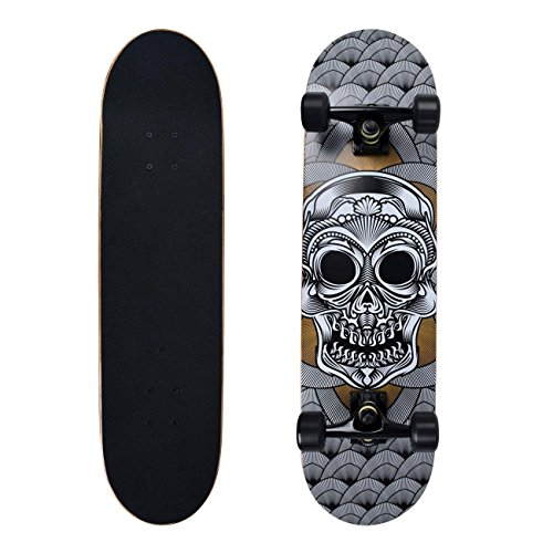 BLUESCRATTE 31″ Complete Skateboard for Beginners and Professional Double Kick Cruiser Board
