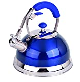 Uniware 3077-BLUE Heavy Duty Stainless Steel 2.5 LT Whistling Kettle, 2.7 L