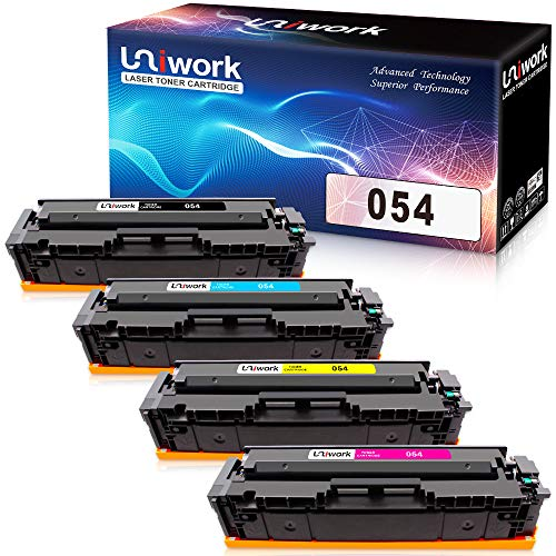 Uniwork Compatible Toner Cartridge 054 Replacement for Canon 054 054H CRG-054 use for Canon Color Image Class MF644Cdw MF642Cdw MF640C LBP622Cdw LBP620 Printer (1 Black, 1 Cyan, 1 Magenta, 1 Yellow) (Cartridge Printer Cyan Replacement)