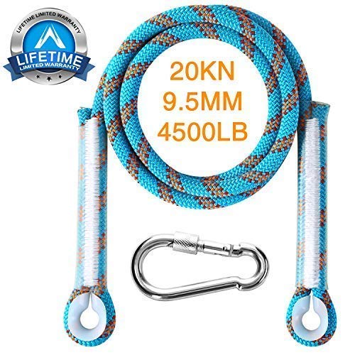 Domila Rock Static Climbing Rope-Outdoor Nylon Rope-Static Safety Rope-with 9.5mm High Strength for Ice Climbing Fire Rescue Hiking Mountaineering