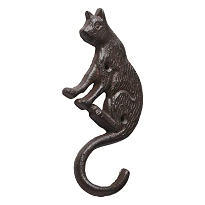 Cast Iron Cat Wall Hooks/Hangers-Decorative Cat Wall Mount for Plant Hanger Flower Basket Bird Feeder Bracket Antique Replica Rust Color Outdoor Rustic Cat Decor for Garden PTZY229-02GM (One Pair) : Garden & Outdoor