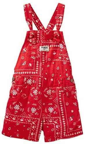 ea15723337 OshKosh B gosh Baby Girls  Bandana Print Shortalls - Red - 6 Months