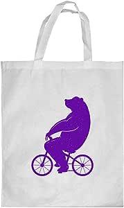كيس تسوق، بتصميم دب يقود دراجة - ، مقاس وسط