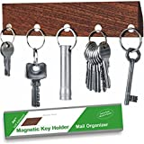 KEY HOLDER - Magnetic - Real Walnut Wood - Self Adhesive 3M System - Easy Install - No Drilling - Wall Mounted - Letter Holder - 5 Very Strong Magnetic Key Hooks Rack - Innovative Design