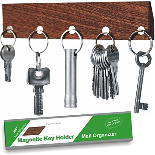 KEY HOLDER - Magnetic - Real Walnut Wood - Self Adhesive 3M System - Easy Install - No Drilling - Wall Mounted - Letter Holder - 5 Very Strong Magnetic Key Hooks Rack - Innovative Design by MW