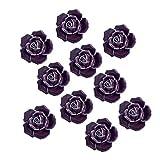 Yazer 10Pack Fashion Design 40mm Rose Flower Ceramic Flora Dresser Knobs Cupboard Drawer Pulls and Handles With 1 Bag Screws (Purple)