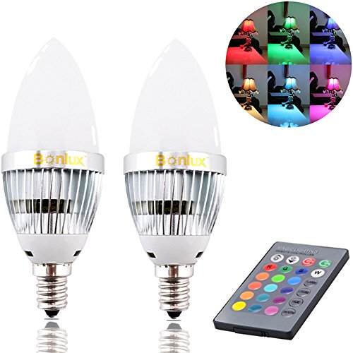 Bonlux 2-Pack 3W RGB E12 Candelabra LED Bulb, 16 Colors 4 Modes Choice, Remote Control Color Changing Candle Light Bulb for Home Decoration/Bar/Party/KTV Mood Ambiance Lighting - Mood Light Candles