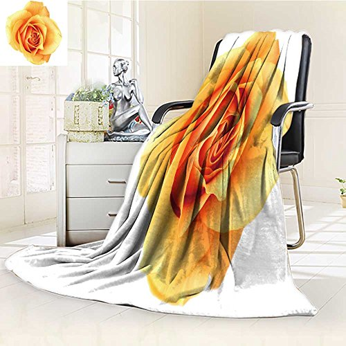 "300 GSM Fleece Blanket orange rose isolated on white see more like it in my portfolio Super Soft Warm Fuzzy Lightweight Bed or Couch Blanket(60""x 50"") well-wreapped"