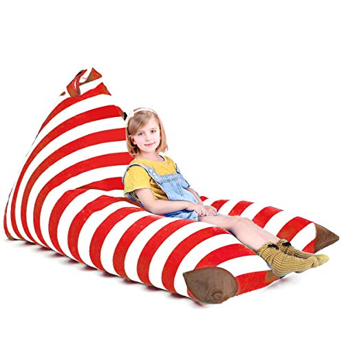 (POKONBOY Stuffed Animal Bean Bag Stuffed Animal Storage, Extra Large Stuffed Animal Storage Stuffed Many Animals Bean Bag Chairs for Kids Stuffed Animal Hammock 100% Cotton Canvas (Red Stripes))