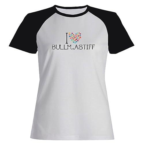 Idakoos I love Bullmastiff colorful hearts - Cani - Maglietta Raglan Donna