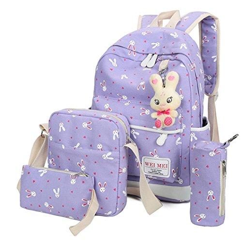 Clearance 4PC Backpack Sets JOYFEEL Women Girls Rabbit Animals Travel Shoulder Bag Backpack+School Bag+Handbag+Pencil Case Purse by JOYFEEL Bag