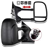 ECCPP Towing Mirrors Replacement fit for 99-07 Ford F250 F350 F450 F550 Power Heated Telescopic Black View Mirror Pair Set Left Driver Right Passenger Side