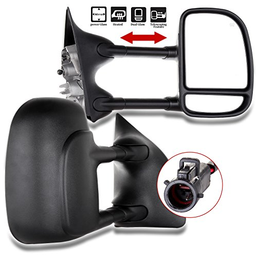 - ECCPP Towing Mirrors Replacement fit for 99-07 Ford F250 F350 F450 F550 Power Heated Telescopic Black View Mirror Pair Set Left Driver Right Passenger Side