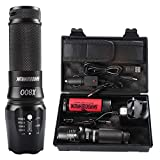Rechargeable Led Torch Powerful, Torches Rechargeable Powerful, Military Grade Led Tactical Flashlight Shadowhawk X800 1300 Lumens 26650 Battery Torch for Camping, Hiking, Warranty for Two Yea