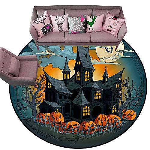 (Floor Mat Home Decoration Supplies Halloween,Medieval Haunted Castle Diameter 54