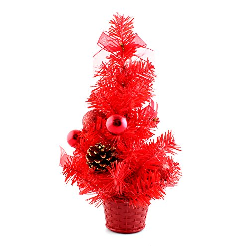 12inch Mini Desk Top Table Top Decorated Christmas Tree with Bows & Baubles Ornaments Decorations, Red