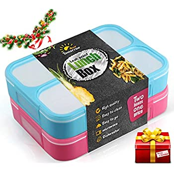A Bento Lunch Box - leakproof - VIDEO DEMONSTRATION - two for one price - For Adults and kids - 3 leakproof compartment - each contains one liter - BPA FREE - recommended over 7 years old