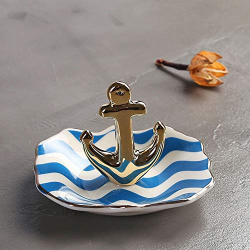 lemonadeus Ceramic Anchor Ring Holder Coastal Navy Jewelry Trays Rings Display (Living Furnishings Coastal)