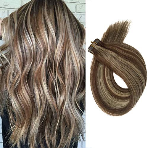 Short Blonde Balayage Hair Extensions 40grams 20pcs Skin Weft Heat Resistant Straight Tape in Extensions Human Hair Medium Brown to Bleach Blonde Lowlights(H#4/613, 18inches)