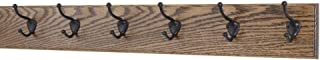"""product image for Oak Wall Mounted Coat Rack with Bronze Hooks 4.5"""" Ultra Wide (Walnut, 30.5"""" x 4.5"""" with 6 Hooks)"""