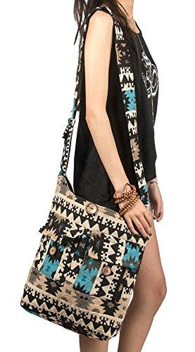 - Tribe Azure Large Blue Quilted Hobo Shoulder Bag Crossbody Sling Beach Travel
