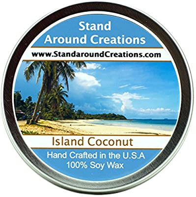 Premium 100% All Natural Soy Wax Aromatherapy Candle - 4oz Tin - Island Coconut: The Sun infused notes of fresh coconut, sweet pineapple and a hint of creamy vanilla unite in our Island Coconut fragrance oil.