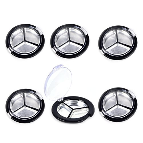 JUNKE 6 PCS 3 in 1 Empty Round Refillable Eyeshadow Containers with Aluminum Pan DIY Cosmetics Eye Shadow Tin Cases (Black)