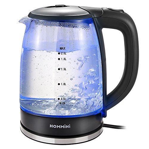 HOMMINI Bouilloire Électrique, Bouilloire en Verre Transparent, 2L, 1850 ~ 2200W, 100% sans BPA, LED Bleu, arrêt automatique, Idéal pour le thé et le Café