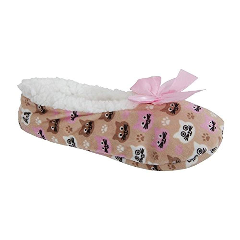 LADIES CO-ZEES ANIMAL BALLET GRIPPER SLIPPERS Cat Bulldog Pug Owl UK Size 4-7
