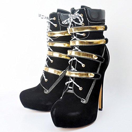 Kolnoo Damen Faschion High Heel Mode Mitte Kalb Stiefel Solid Dekoration Schuhe Handgefertigt Für Hochzeitspartykleid Black