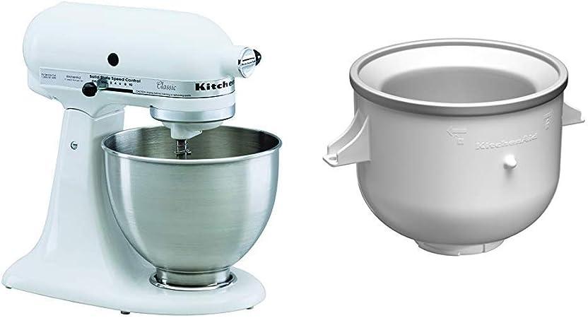 Kitchenaid 5K45SSEWH Serie Classic - Batidora amasadora multifunción, color blanco + KICAOWH - Accesorio para helado para los robots de cocina KSM90 / K5 / K45 / KSM150: Amazon.es: Hogar