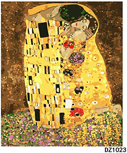 Kits Paint Adult Hand Painted Oil Paint DIY Painting By Numbers-Klimt kiss 16