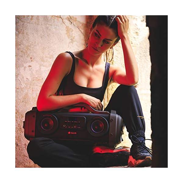 NGS Street Breaker - Bombe Portable de 200 W avec Technologie True Wireless et Bluetooth (USB/MicroSD/AUX-in). Couleur : Noir. 5