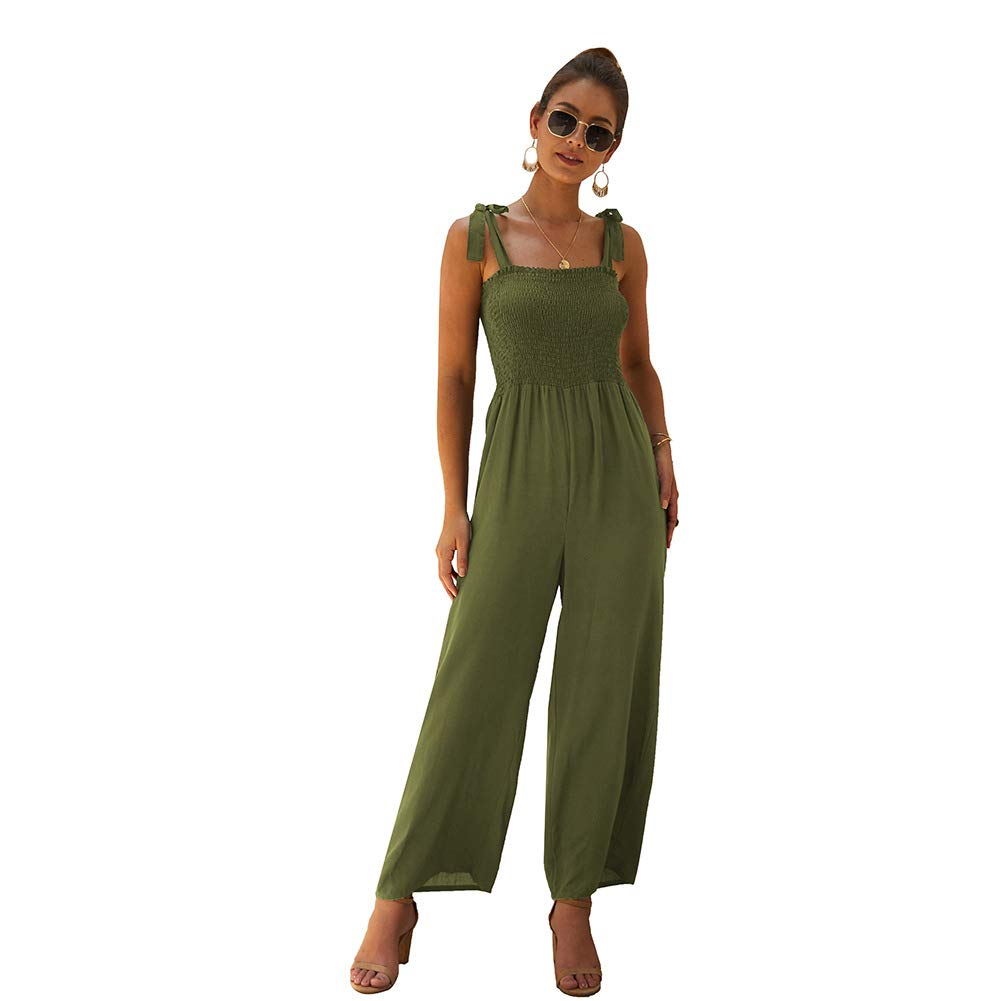 RONSHIN Solid Colored Suspenders Lace-up Jumpsuit