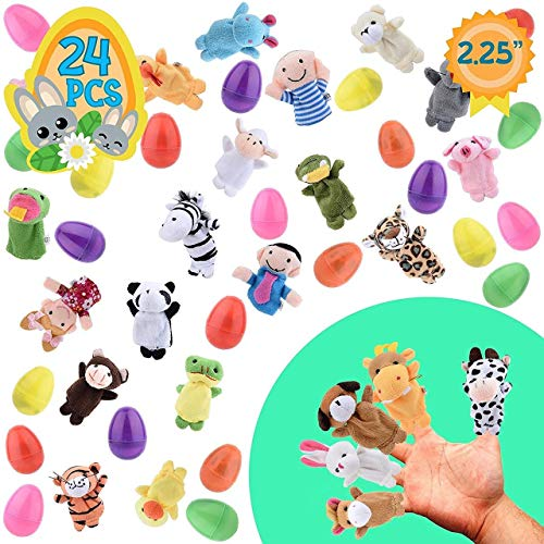 Totem World 24 Toy Filled Easter Eggs With Plush Animal Finger Puppets - Ready To Hide And Hunt - Save Time With Convenient, Reusable Filled Eggs - Perfect As Easter Basket Fillers, Party Favors or Story Telling