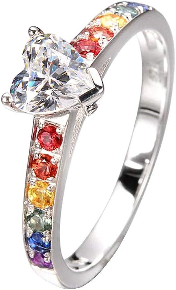 Equalli - Anillo de compromiso y boda artesanal en plata de ley 925 con zafiros de arco iris naturales de .55 quilates + piedra central: Amazon.es: Joyería