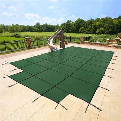 (20'x40' Green Mesh - CES Rectangle Inground Safety Pool Cover - 15 Year Warranty - 20 ft x 40 ft in Ground Winter Cover with 4'x8' Center End Steps)