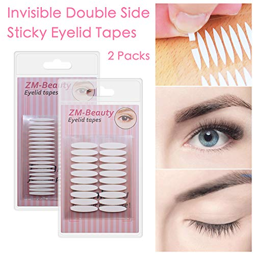 2 Packs Invisible Double Side Eyelid Tapes Stickers, Medical-use Adhesive Eyelid Strips, Instant Eye Lift Without Surgery, Perfect for Hooded, Droopy, Uneven, Mono-eyelids (Best Double Sided Eyelid Tape)