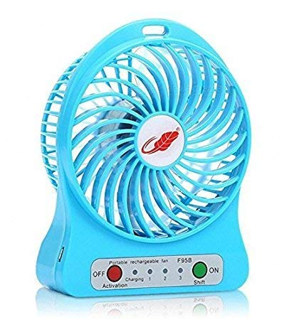 Welrock Mini Portable USB Rechargeable 3 Speed Fan for Office Desk   Colors May Vary