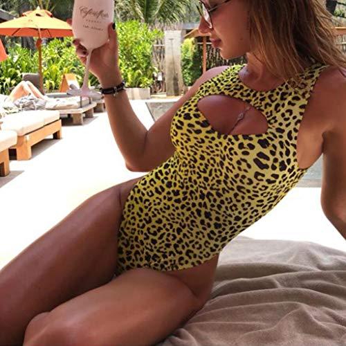 e51b4263cd Women Leopard Print One Piece Swimsuit Swimwear Bandage High Cut Monokini  Bathing Suit