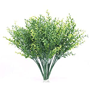 Artificial Shrubs, Artificial Plant Eucalyptus Leave, Fake Plastic Greenery Plants Eucalyptus Leaves for Wedding, Garden, Farmhouse,Outdoor,Office Verandah Decoration 102