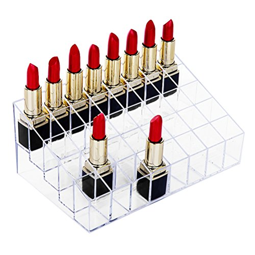 Display Counter Balm Lip (hblife Lipstick Holder, 40 Spaces Clear Acrylic Lipstick Organizer Display Stand Cosmetic Makeup Organizer for Lipstick, Brushes, Bottles, and More)