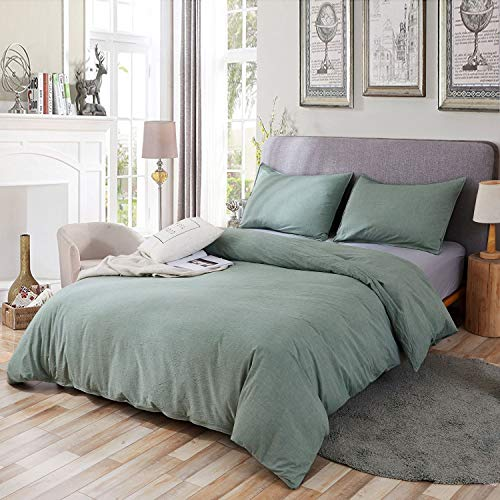 SORMAG 100% Washed Cotton Duvet Cover 3 Piece, Comforter Cover King Size, Solid Color and Ultra Soft with Zipper Closure, Corner Ties, Simple Bedding Style, Green