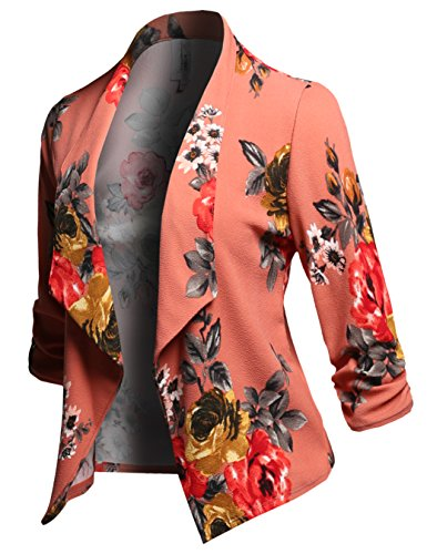 (Stretch 3/4 Gathered Sleeve Open Blazer Jacket Coral)